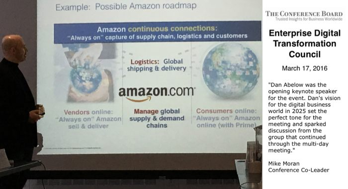 Dan Abelow presents a possible Amazon World Leadership Roadmap to The Conference Board's Enterprise Digital Transformation Council