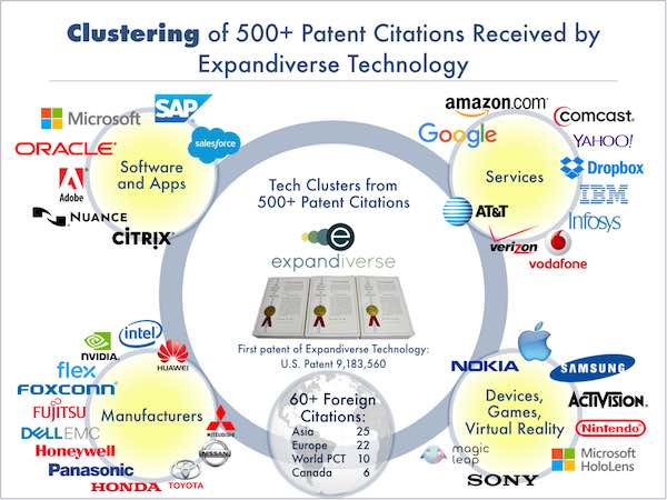 Expandiverse Technology: Over 500 Patent Citations in 4 major categories